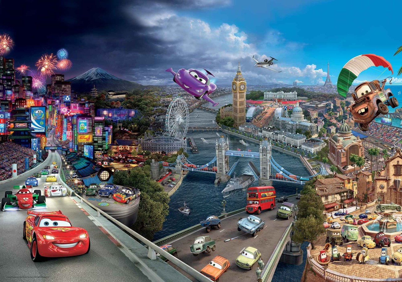 High Quality Disney Cars Lightning McQueen Bernoulli Wallpaper Mural Part 14