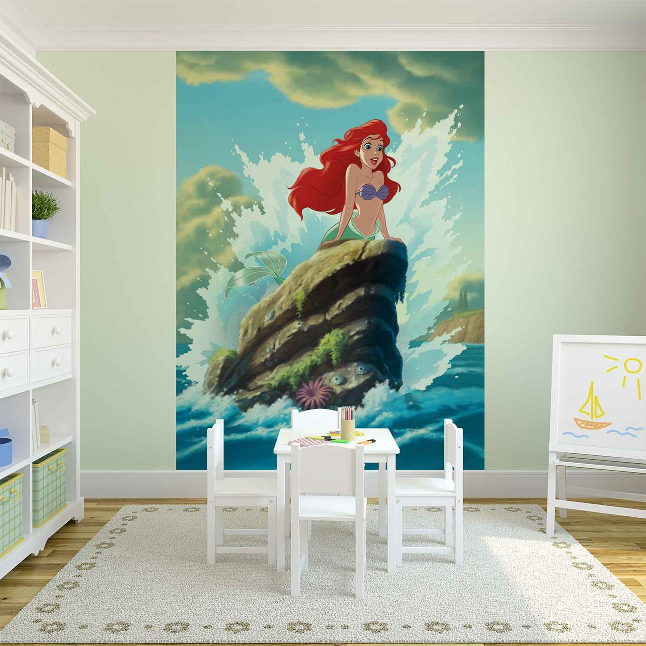 Disney little mermaid ariel wall paper mural buy at for Disney wall mural uk
