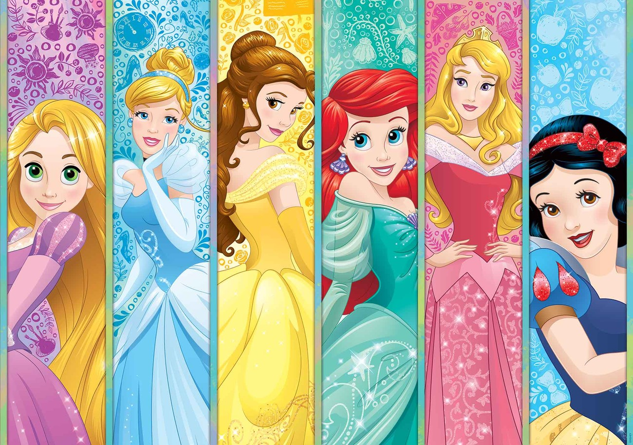 Disney princesses aurora belle ariel wall paper mural for Disney princess mini mural