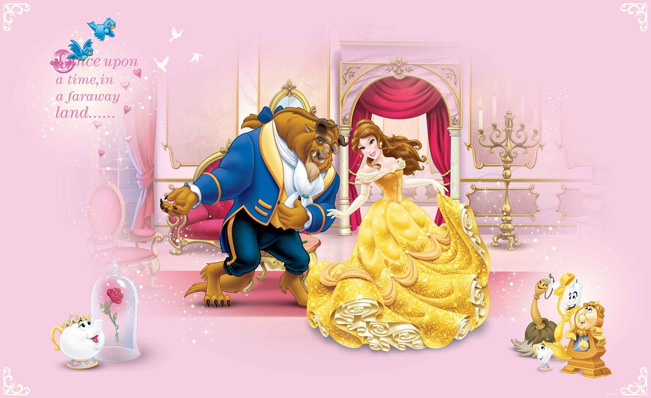 Disney princesses beauty beast wall paper mural buy at for Disney princess mini mural
