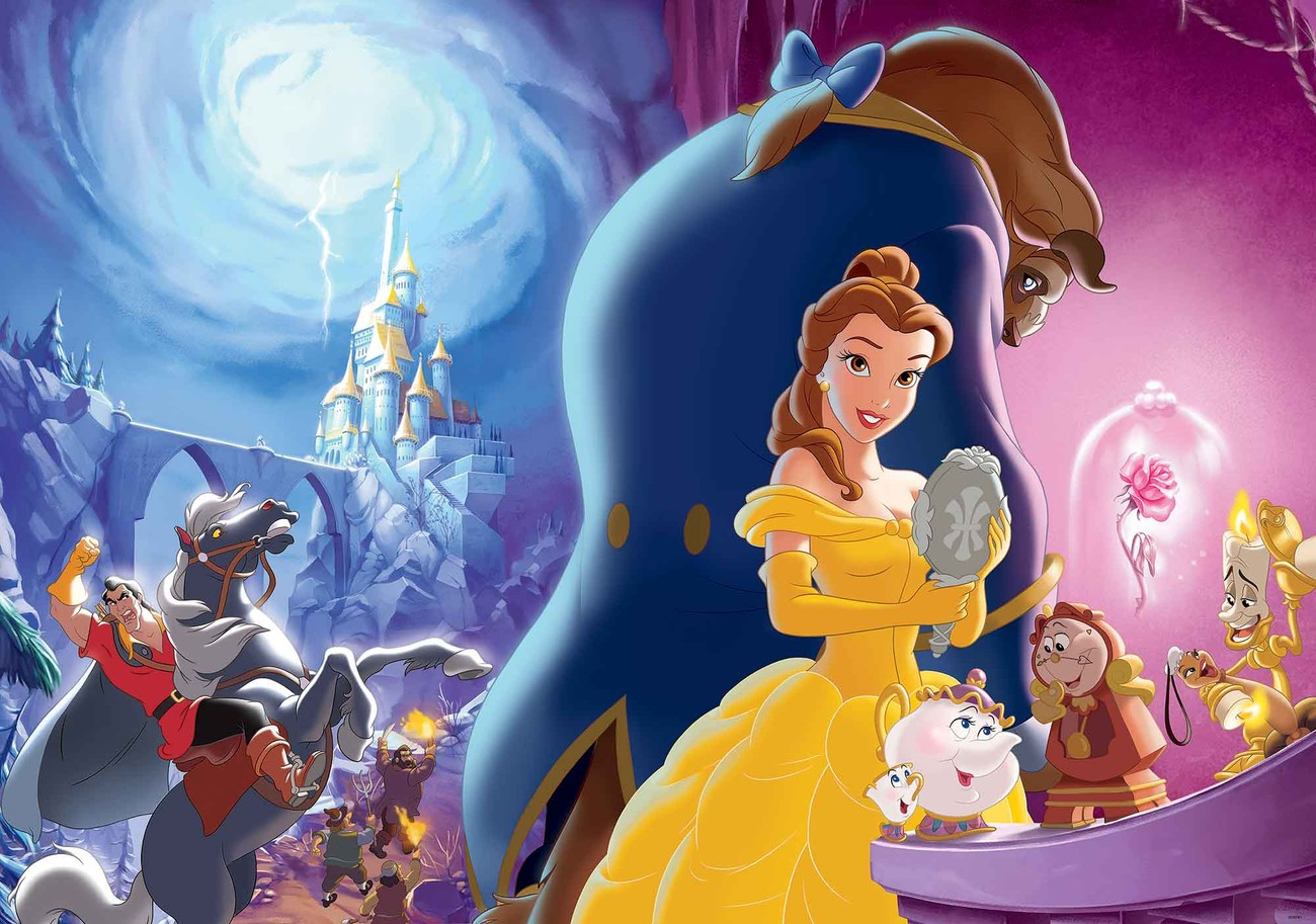 Disney princesses belle beauty beast wall paper mural for Disney princess mural wallpaper