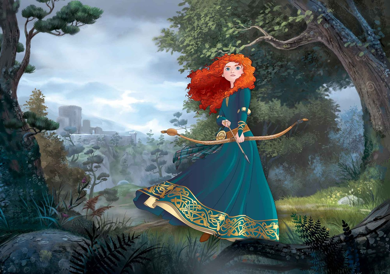Disney princesses merida brave wall paper mural buy at for Disney princess mural asda