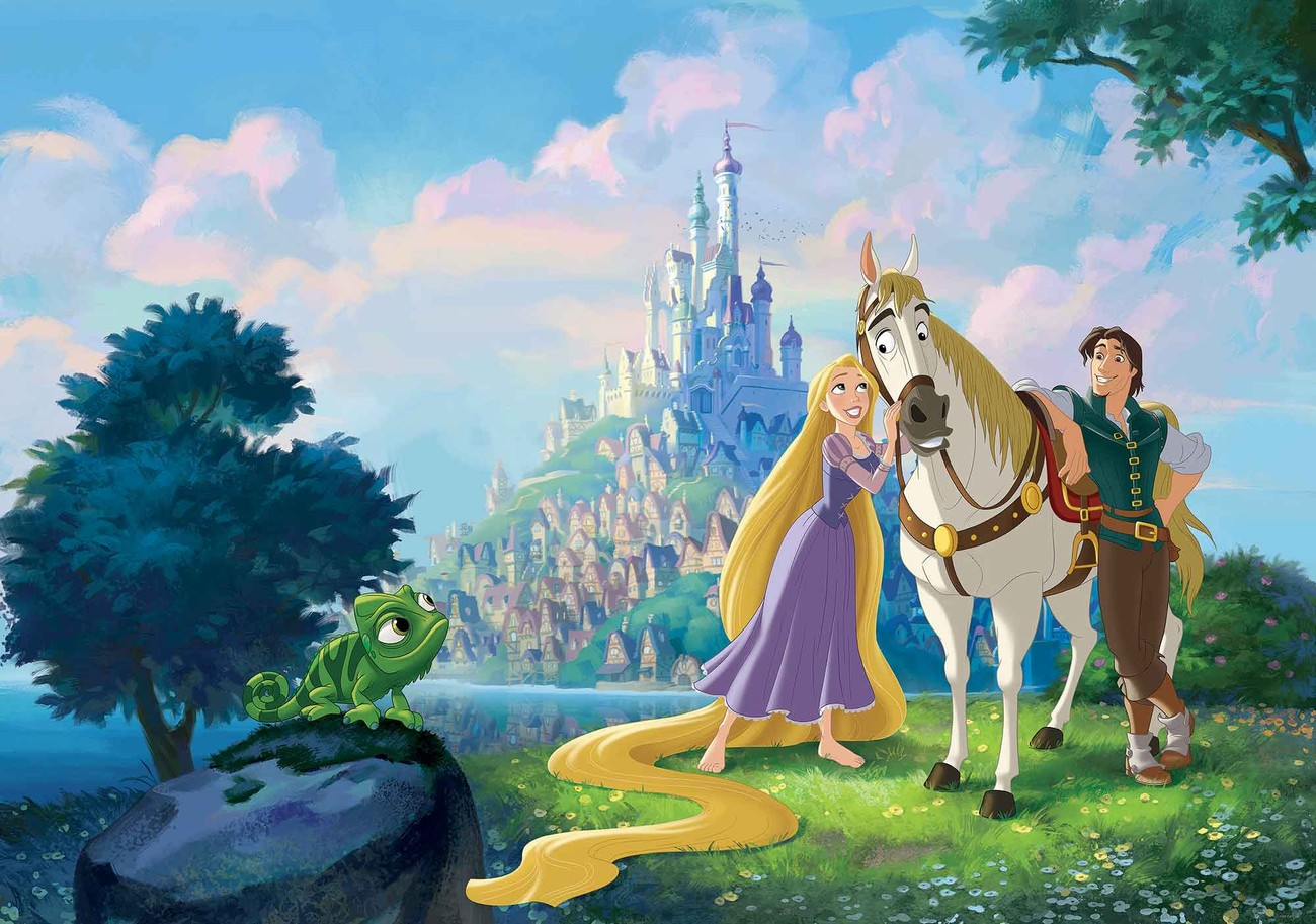 Disney princesses rapunzel wall paper mural buy at for Disney princess wallpaper mural
