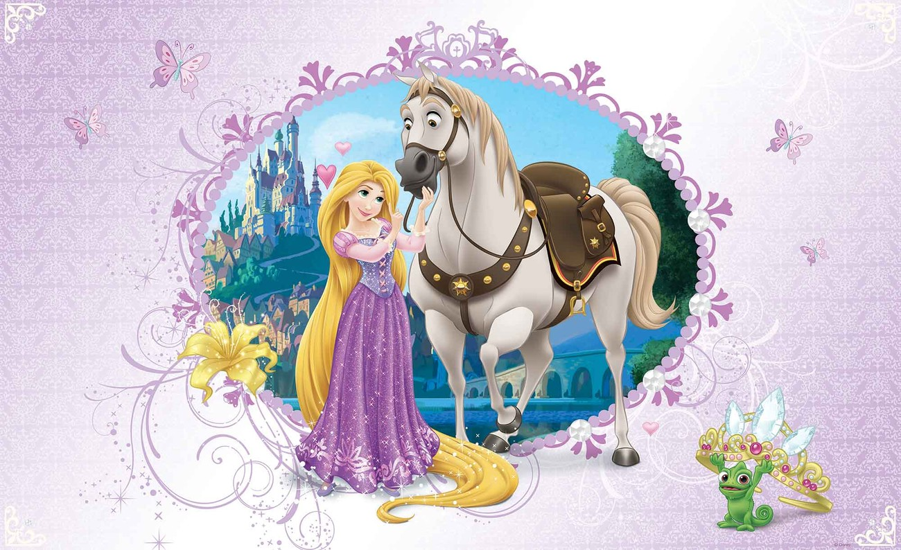 Disney princesses rapunzel wall paper mural buy at for Disney princess wallpaper mural uk