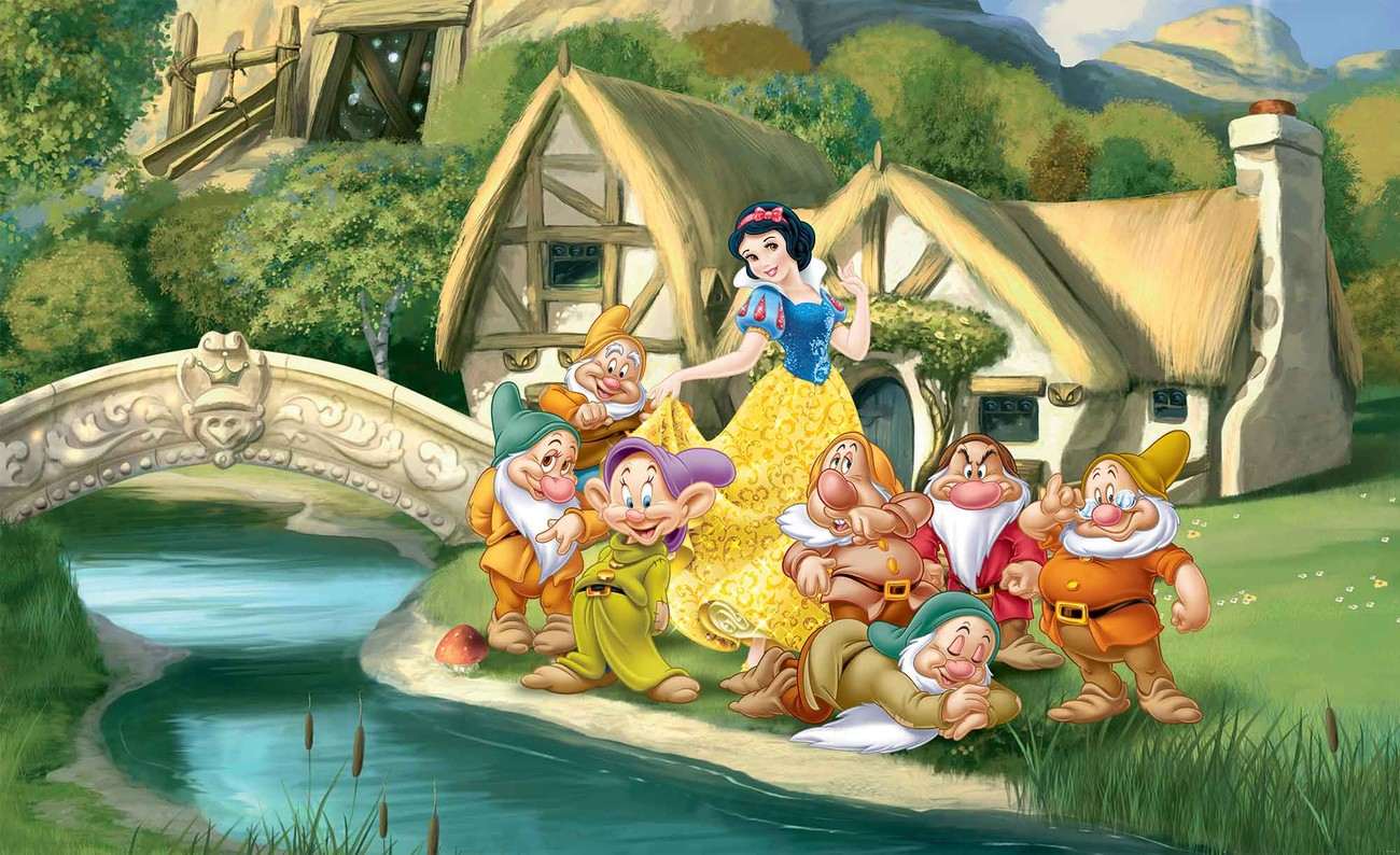 Disney princesses snow white wall paper mural buy at for Disney princess wallpaper mural uk