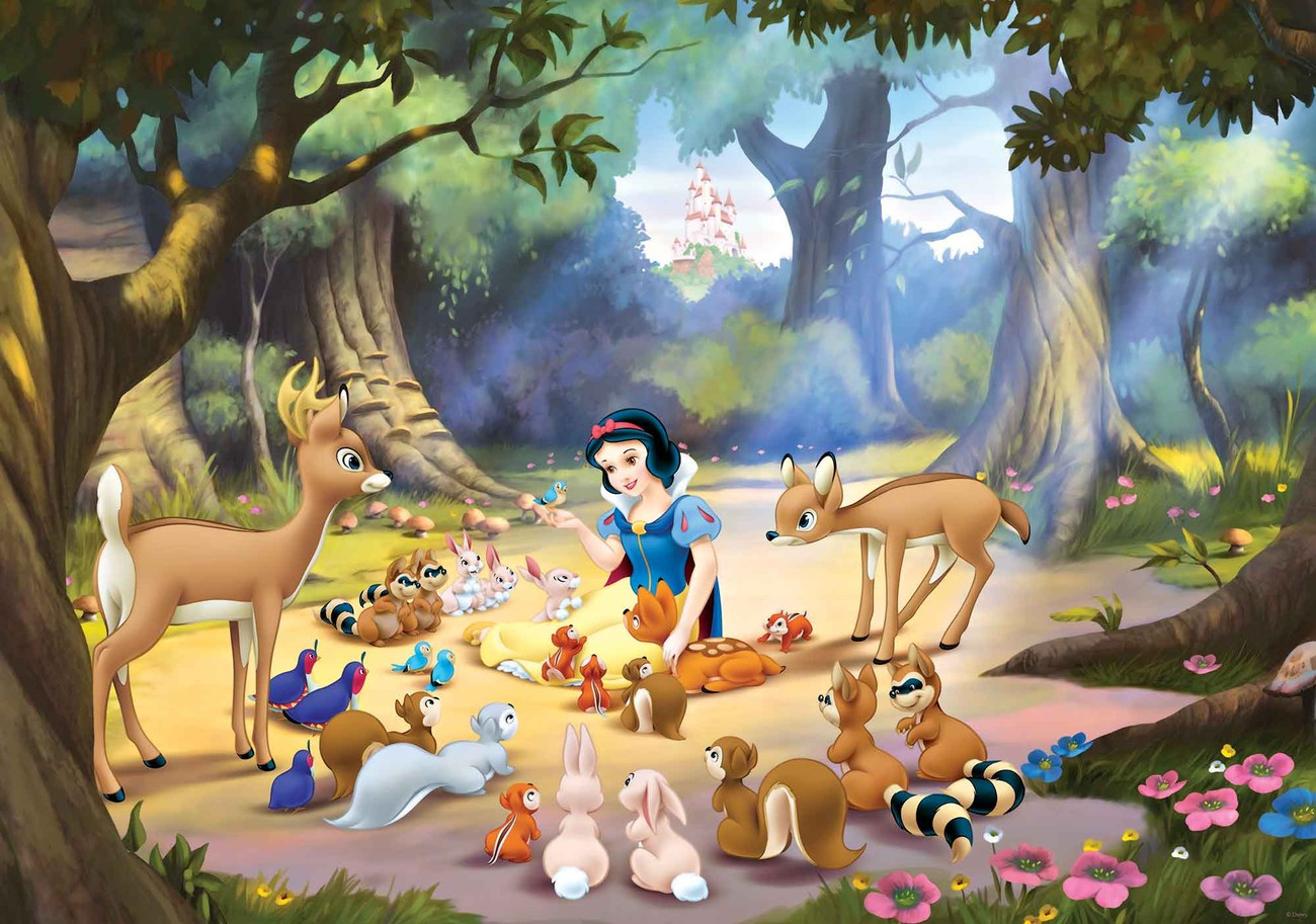 Disney princesses snow white wall paper mural buy at for Disney princess wallpaper mural