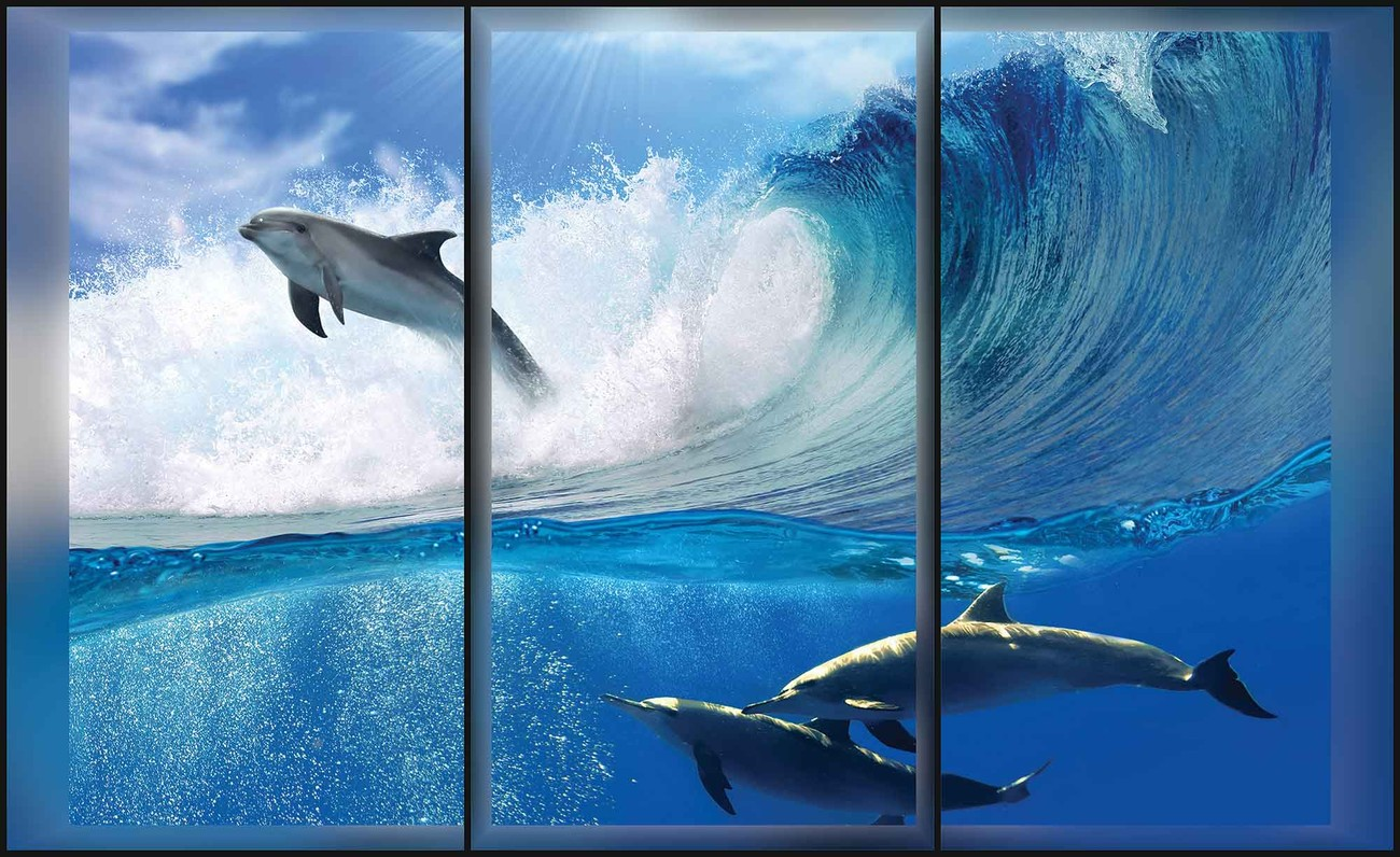 Dolphins sea wave jump wall paper mural buy at europosters for Dolphin mural wallpaper