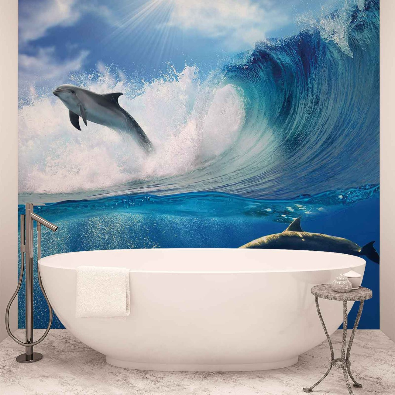 dolphins sea wave nature wall paper mural buy at europosters. Black Bedroom Furniture Sets. Home Design Ideas