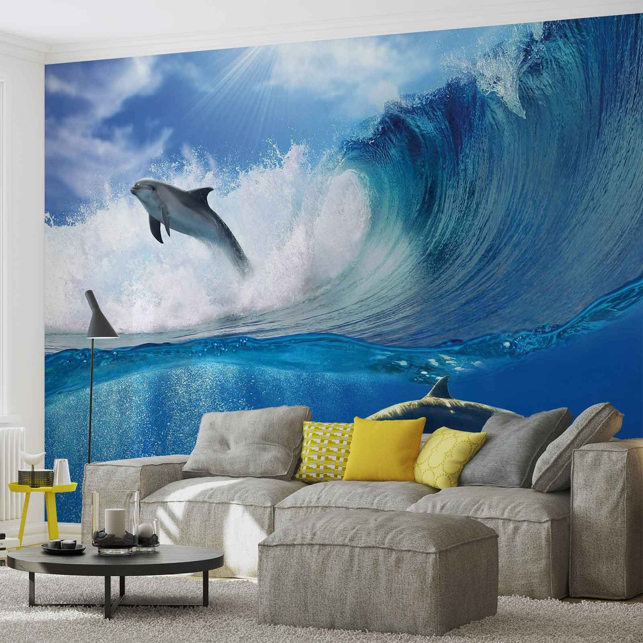 Dolphins sea wave nature wall paper mural buy at for Dolphin wall mural
