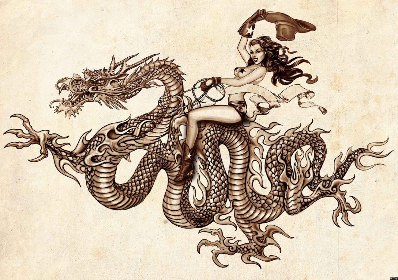 Dragon tattoo wall paper mural buy at europosters for Back mural tattoos