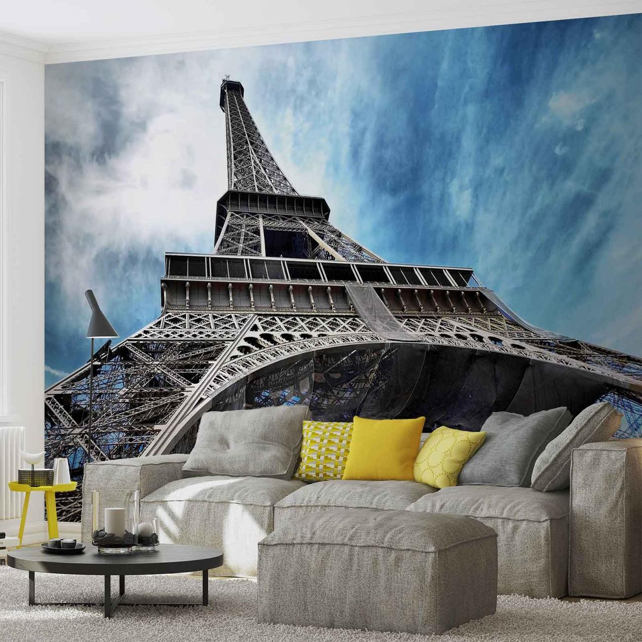 Eiffel tower paris wall paper mural buy at europosters for Eiffel tower wallpaper mural