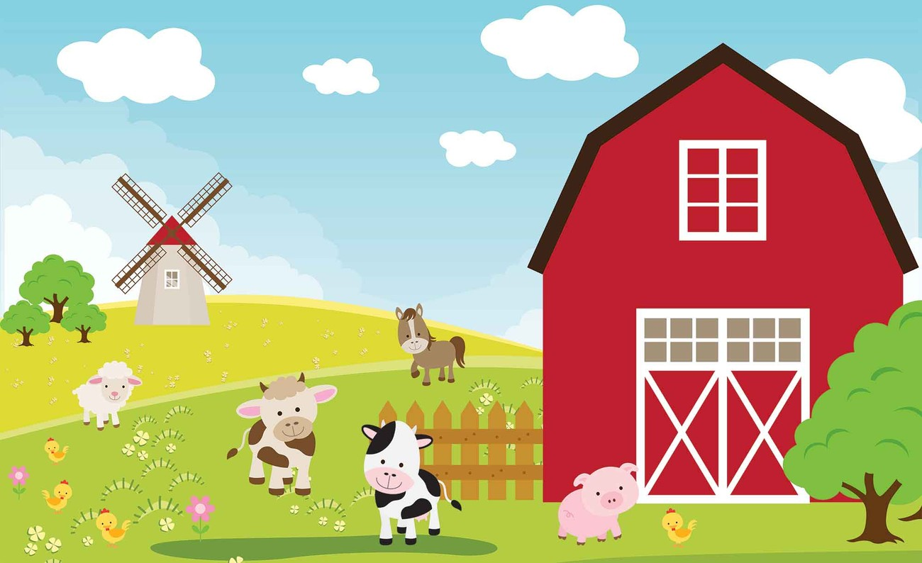 Farm cartoon boys bedroom wall paper mural buy at for Cartoon mural wallpaper