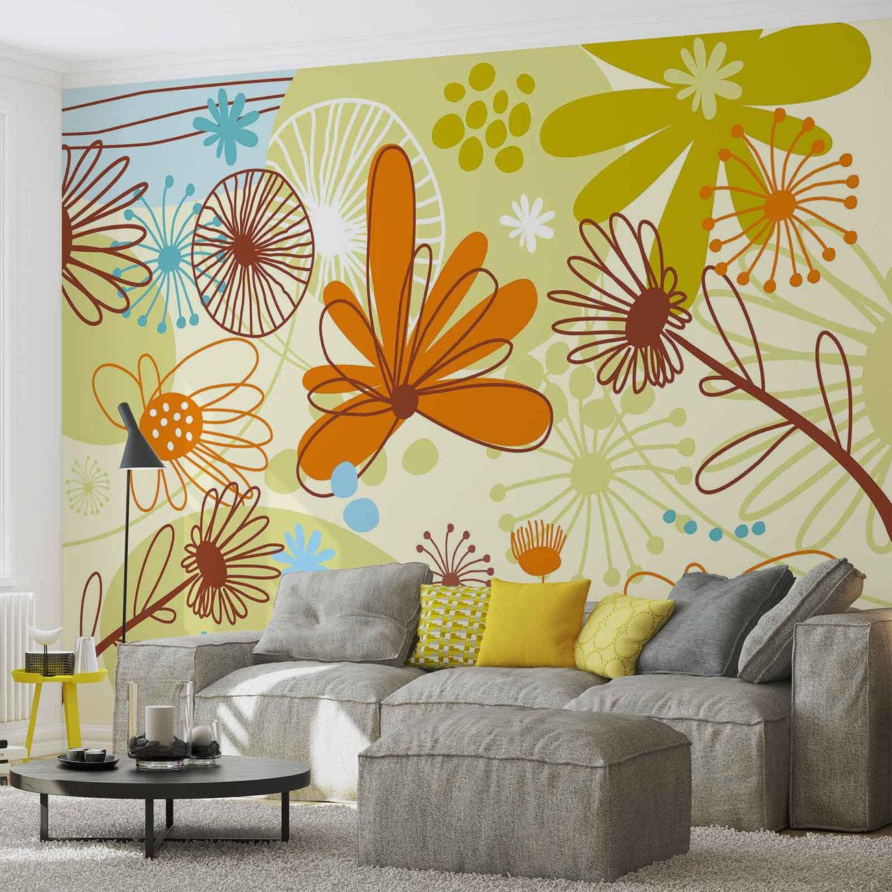 Floral pattern wall paper mural buy at europosters for Mural flower