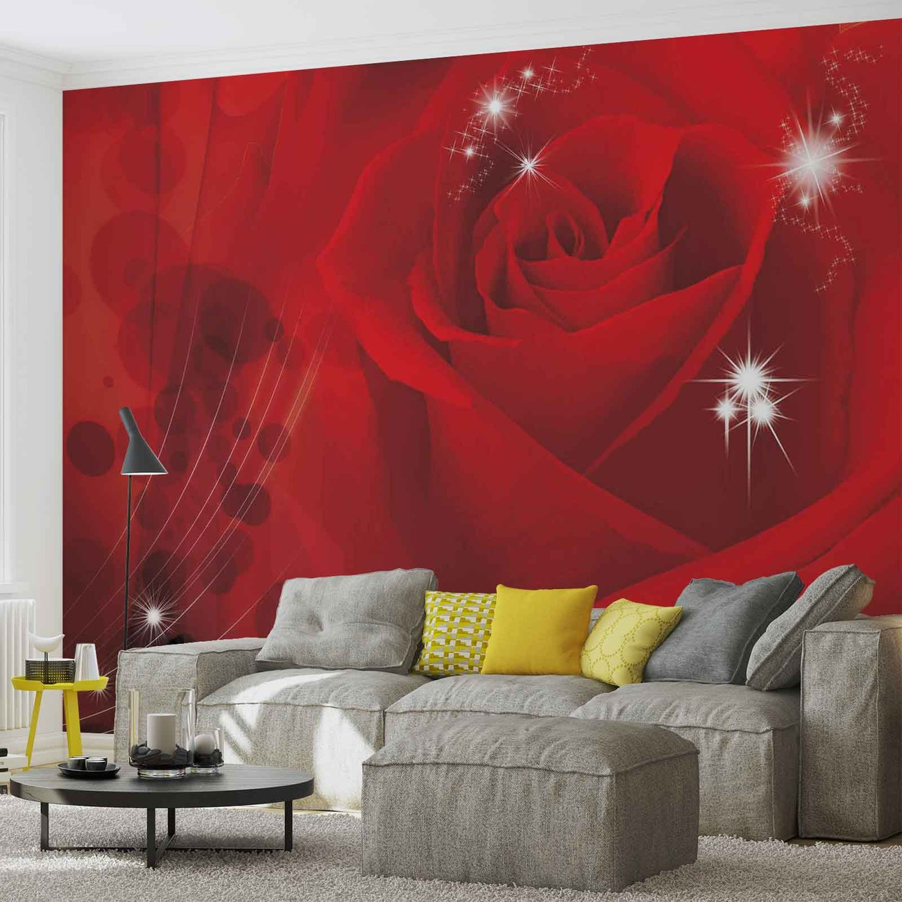 Flower rose red wall paper mural buy at europosters for Mural flower