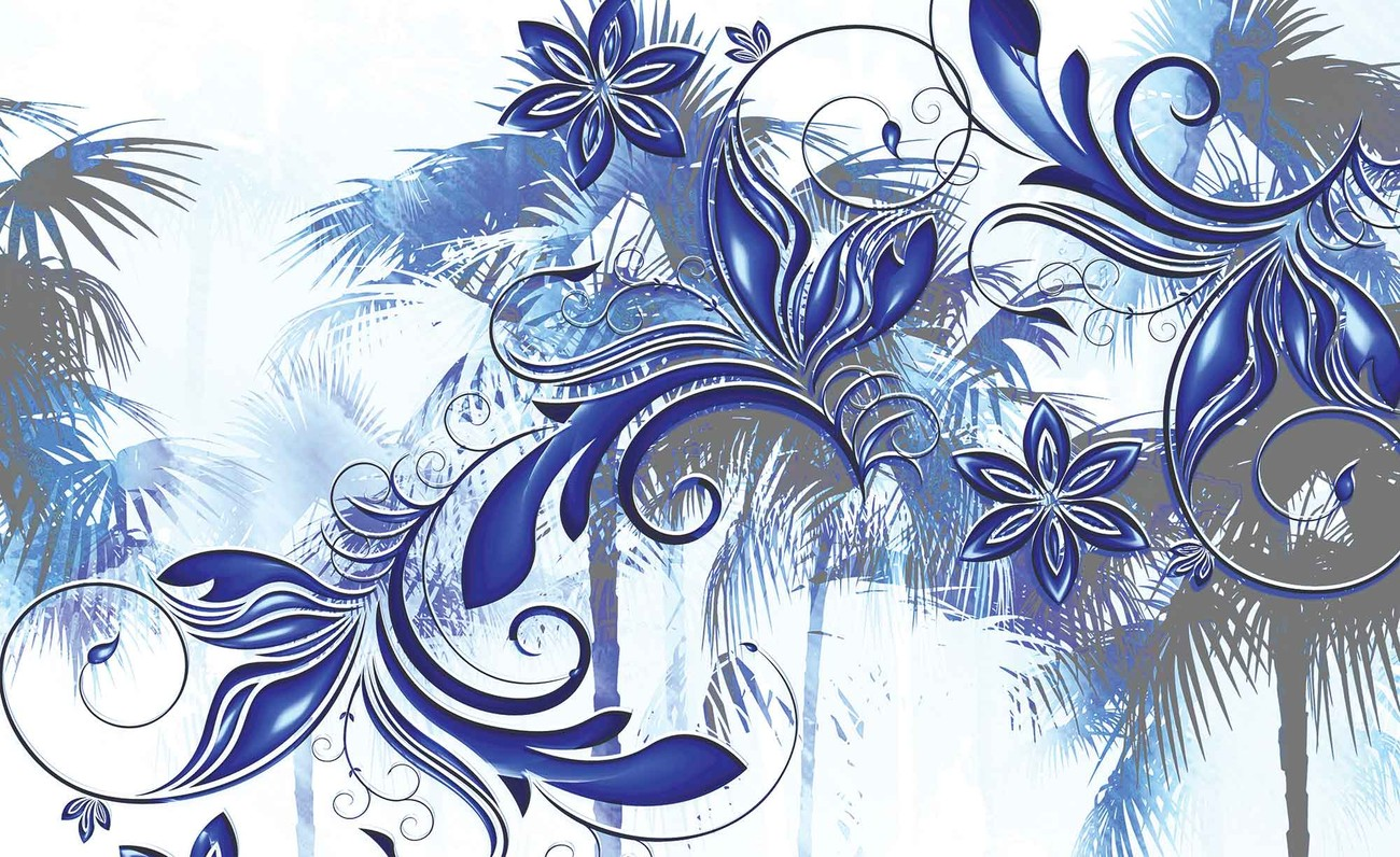 Flowers abstract art wall paper mural buy at europosters for Abstract mural wallpaper