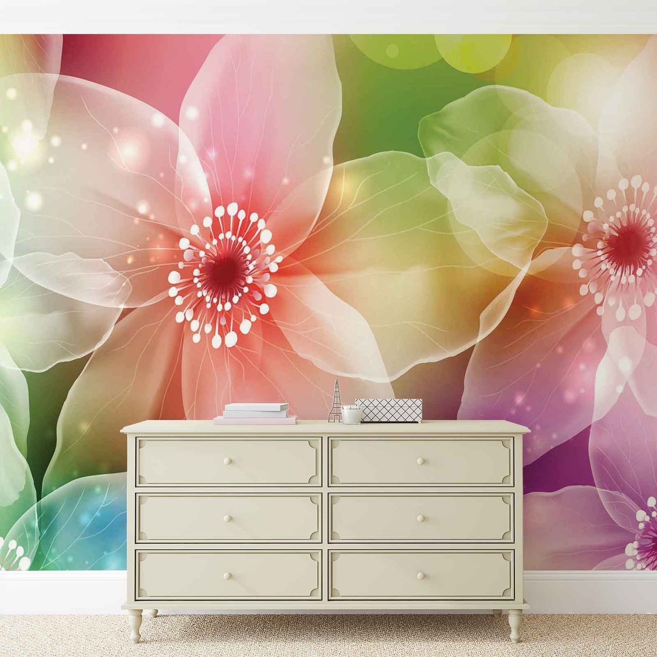 Flowers art wall paper mural buy at europosters for Mural of flowers