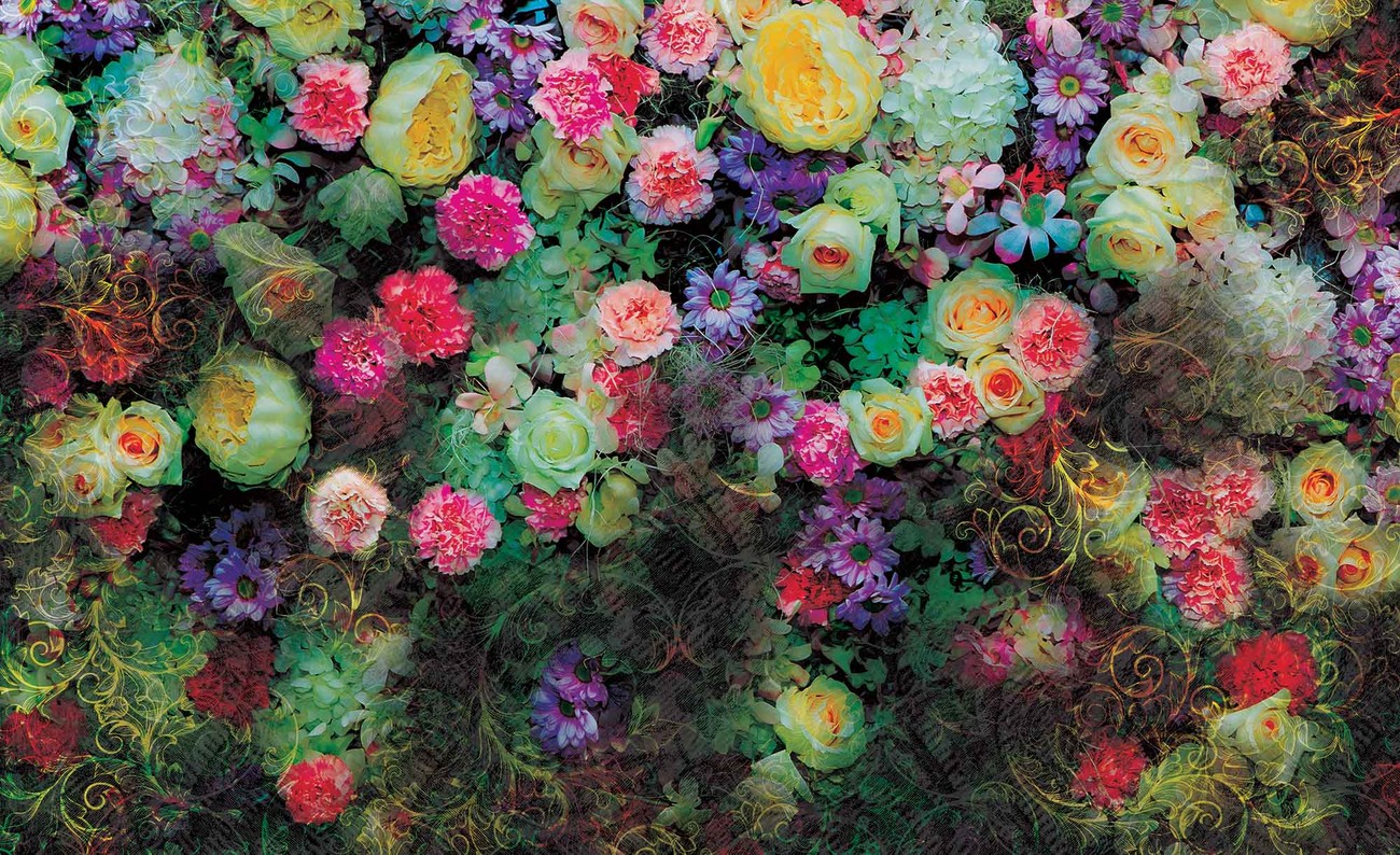 Flowers colours design wall paper mural buy at europosters Mural of flowers