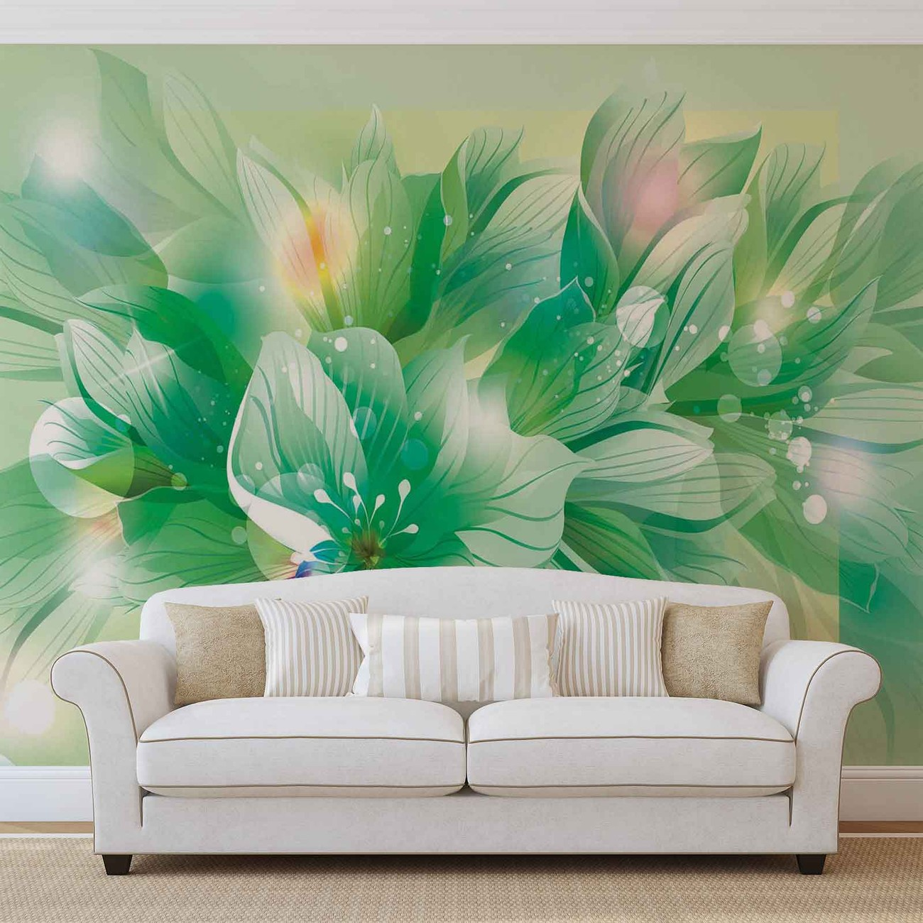 flowers nature green wall paper mural buy at europosters. Black Bedroom Furniture Sets. Home Design Ideas