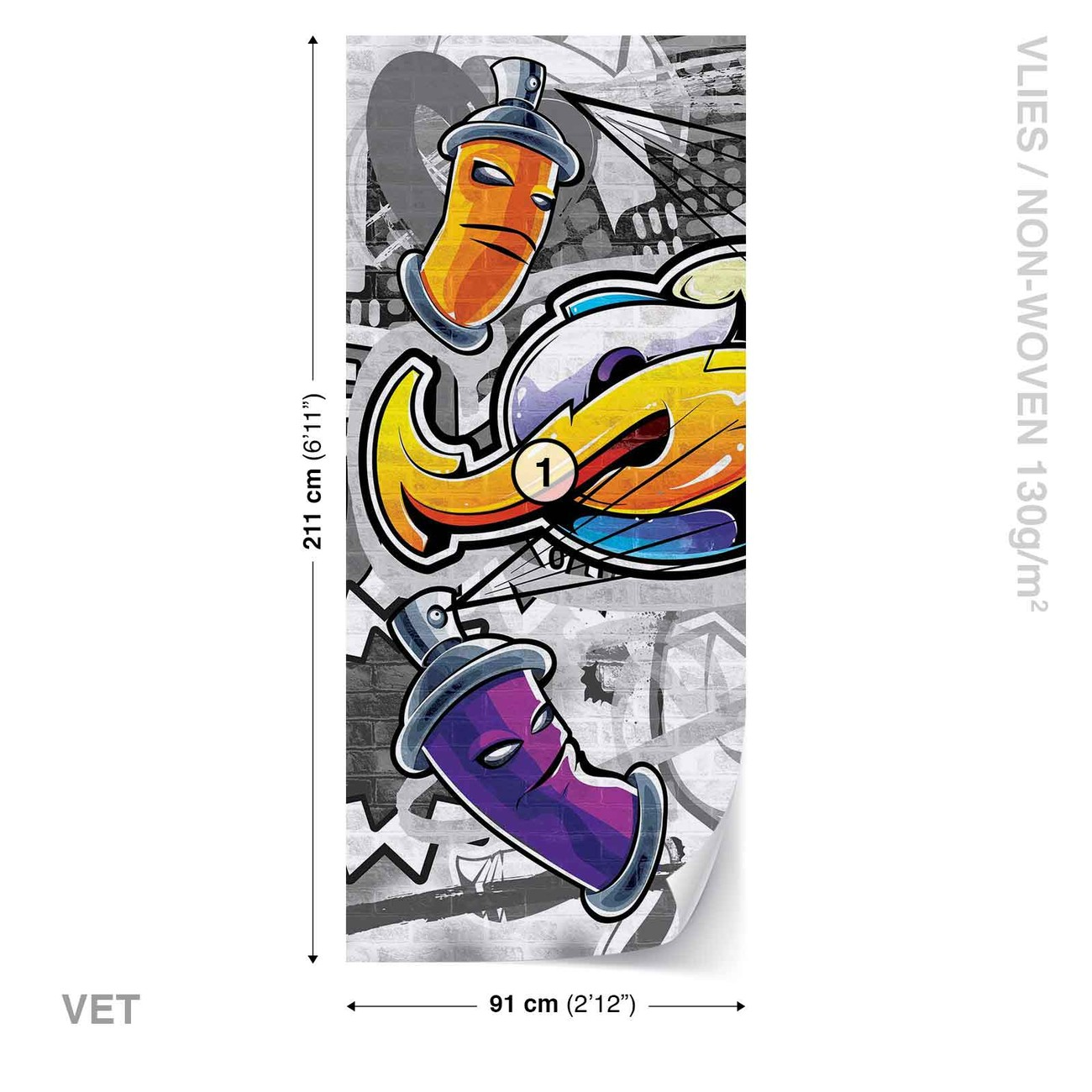 Walltastic Graffiti Wallpaper Mural: Graffiti Street Art Wall Paper Mural