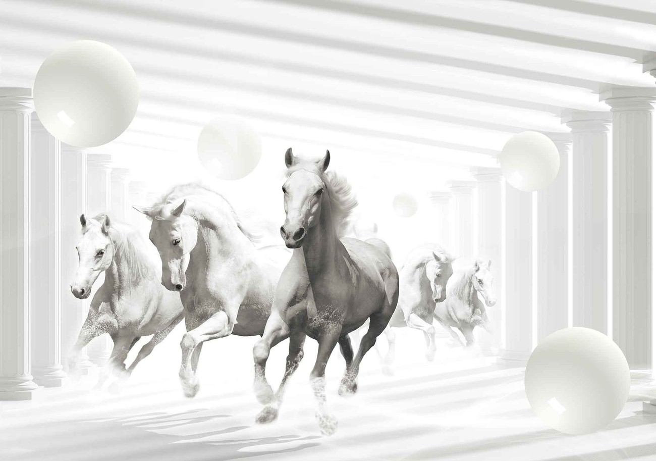 horses white spheres wall paper mural buy at ukposters. Black Bedroom Furniture Sets. Home Design Ideas