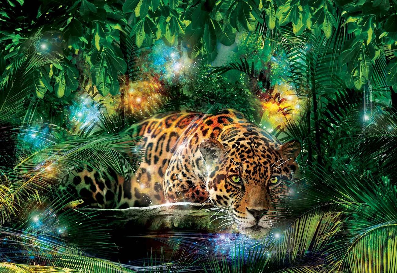Leopard In Jungle Wall Paper Mural