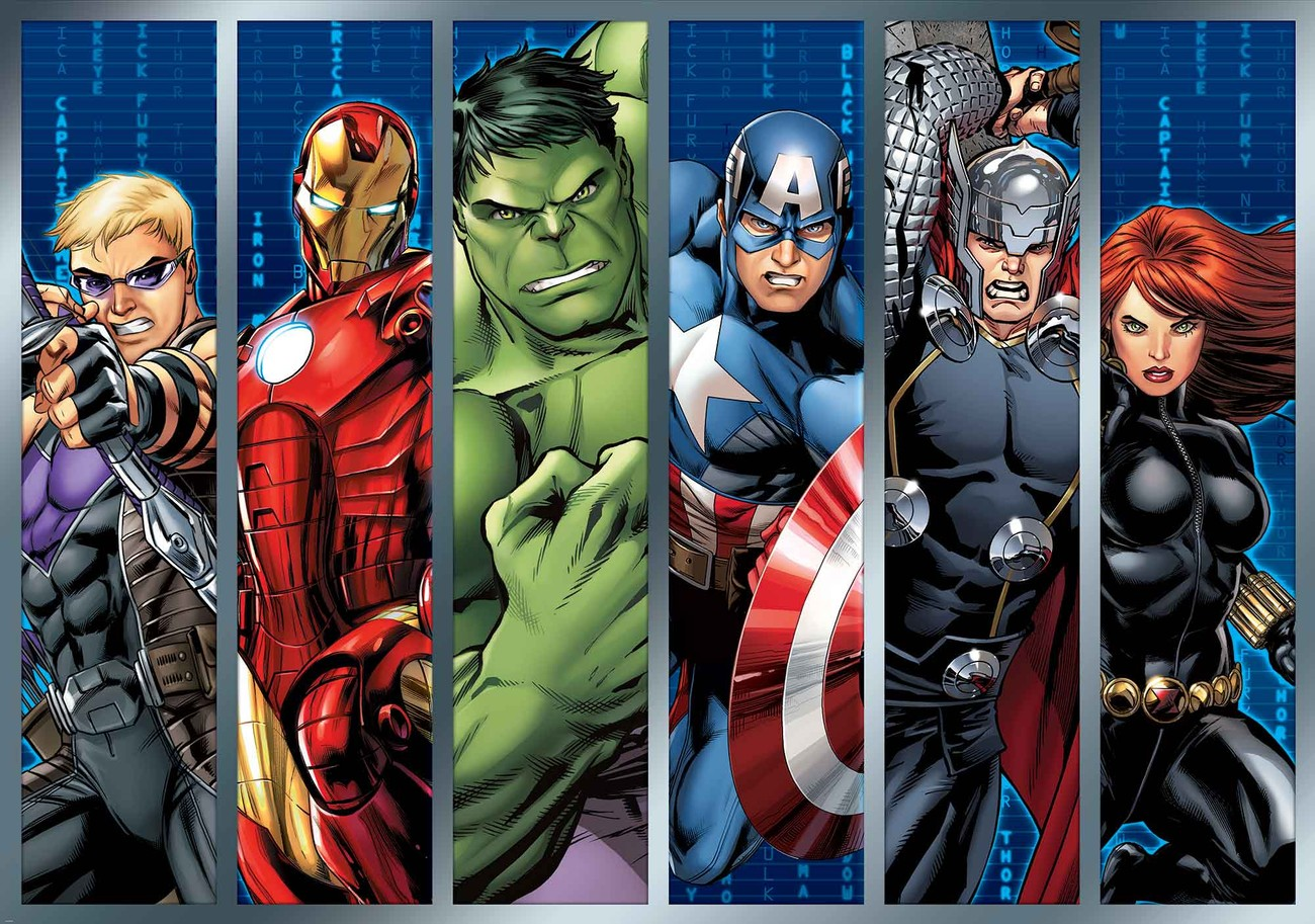 Marvel avengers wall paper mural buy at europosters for Avengers mural poster