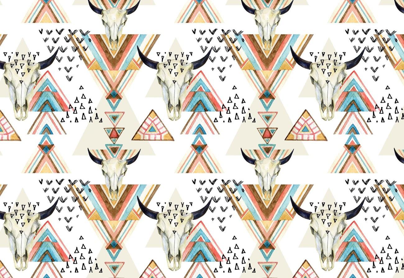 Modern Boho Chic Pattern Wallpaper Mural