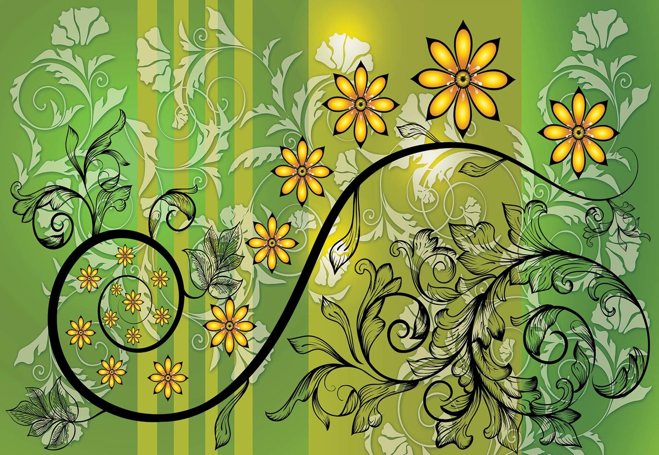 Modern Floral Design With Swirls Green And Yellow Wallpaper Mural