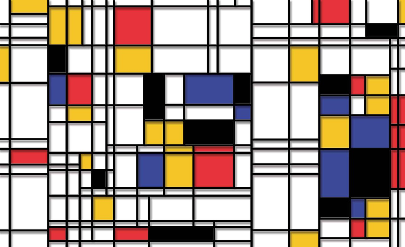 mondrian modern art wall paper mural buy at europosters. Black Bedroom Furniture Sets. Home Design Ideas