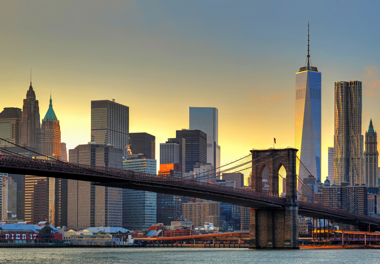 New york brooklyn bridge at sunset wall mural buy at for Brooklyn bridge mural wallpaper