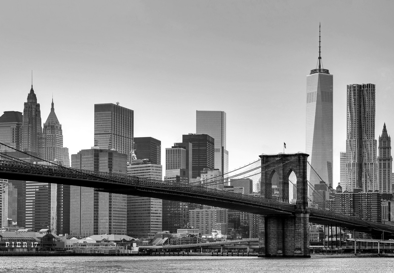 New york brooklyn bridge b w wall mural buy at for Black and white new york mural wallpaper