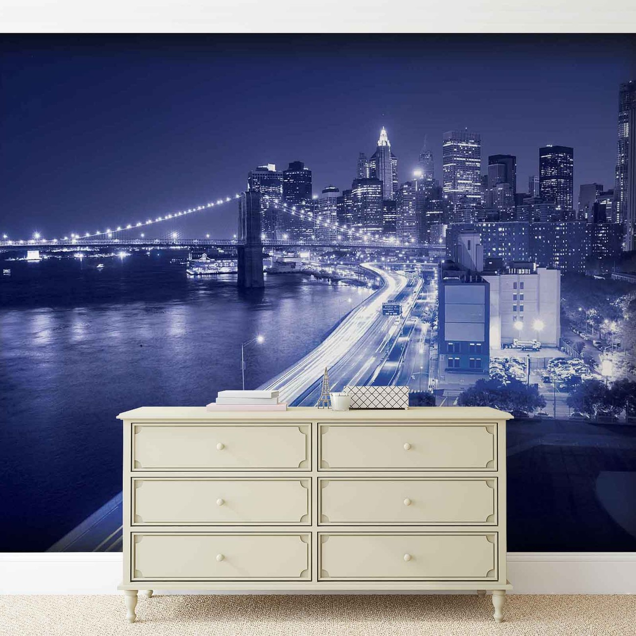 New york city brooklyn bridge lights wall paper mural for Brooklyn bridge wallpaper mural