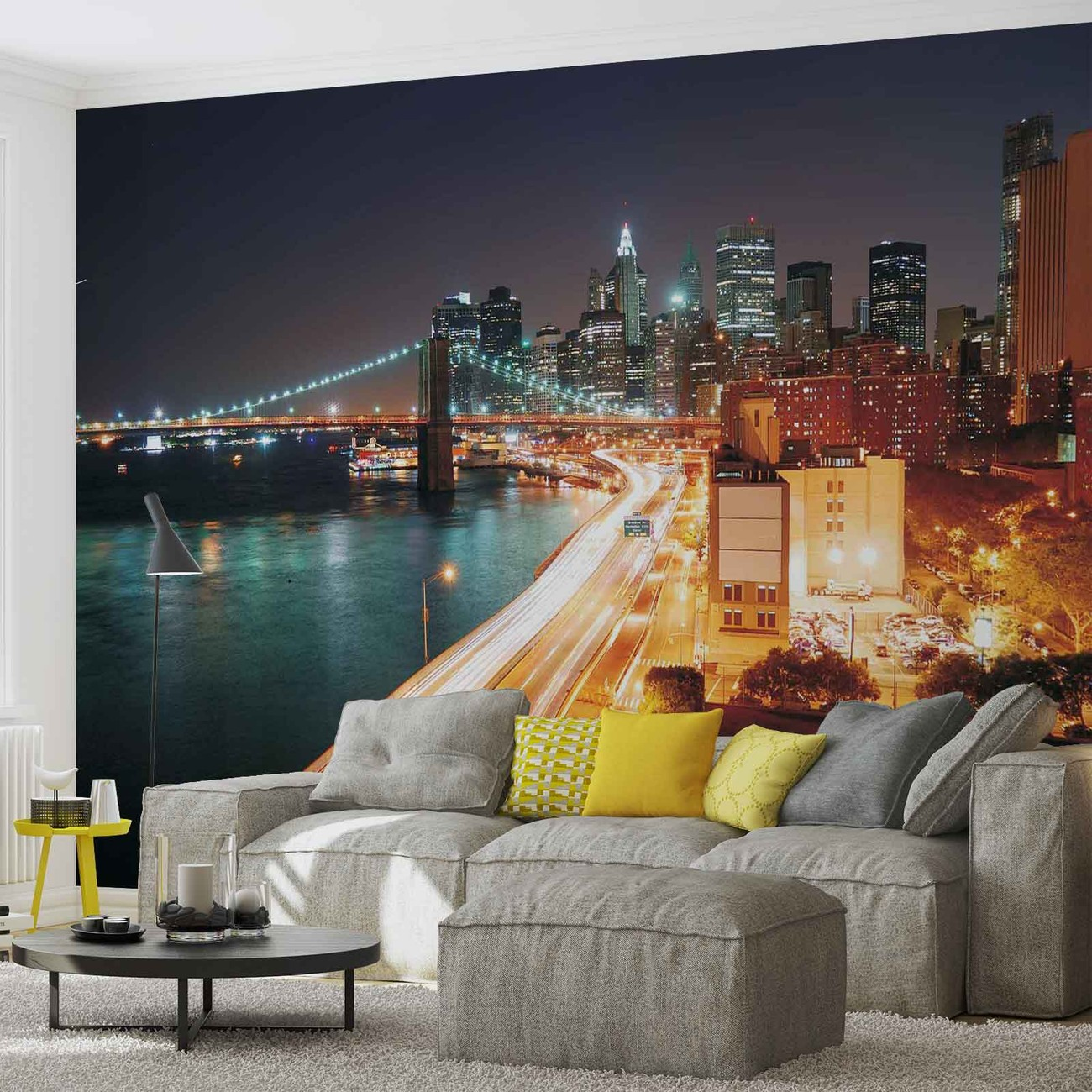 new york city skyline night wall paper mural buy at. Black Bedroom Furniture Sets. Home Design Ideas