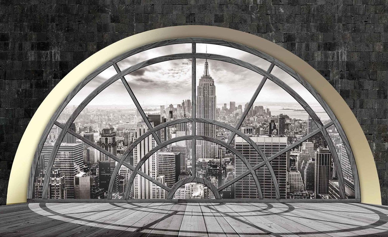 new york city skyline window wall paper mural buy at ukposters. Black Bedroom Furniture Sets. Home Design Ideas