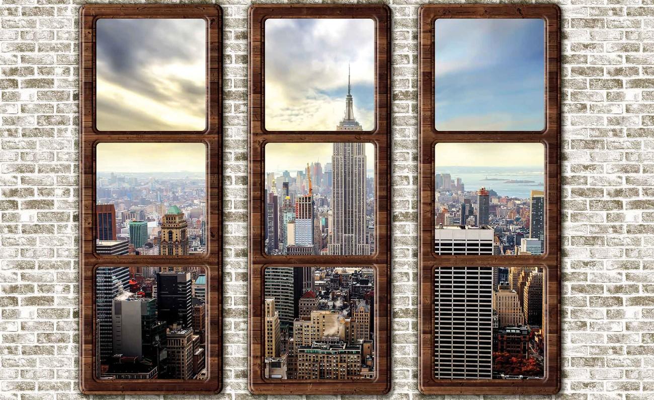 New york city skyline window view wall paper mural buy for City view wallpaper mural