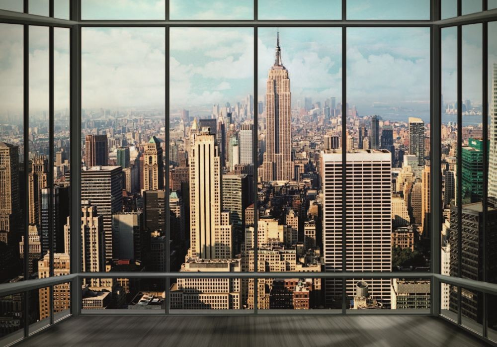 new york manhattan skyline wall mural buy at europosters. Black Bedroom Furniture Sets. Home Design Ideas