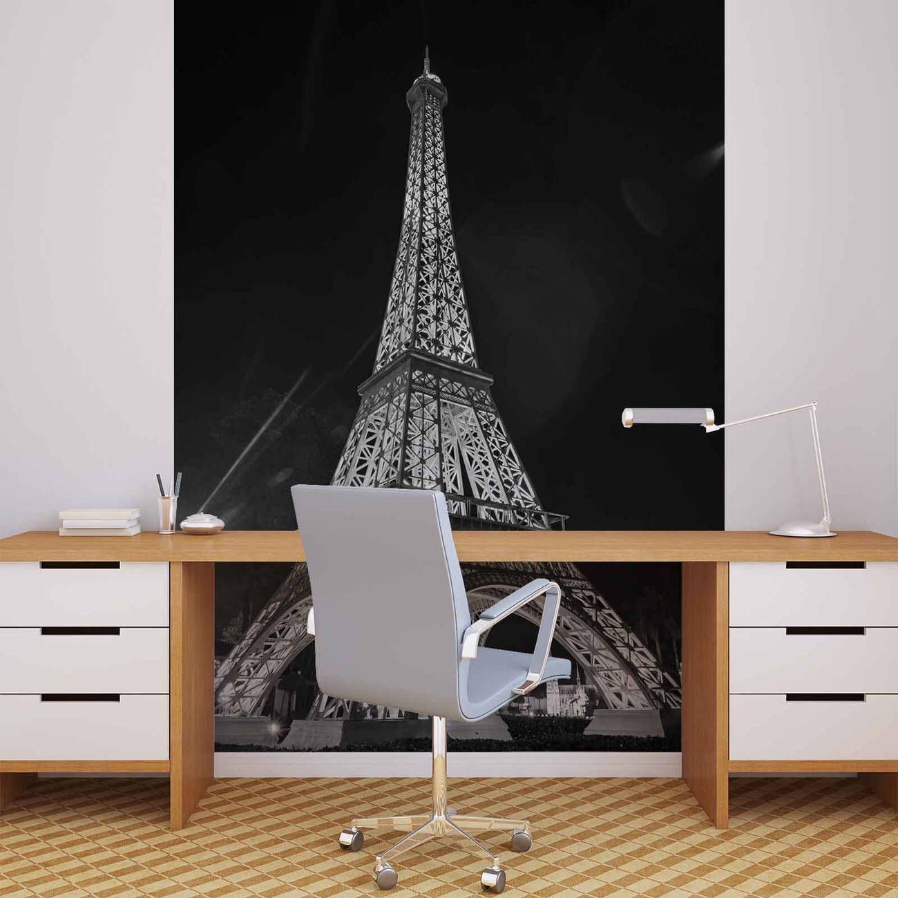 Paris eiffel tower wall paper mural buy at europosters for Eiffel tower mural black and white