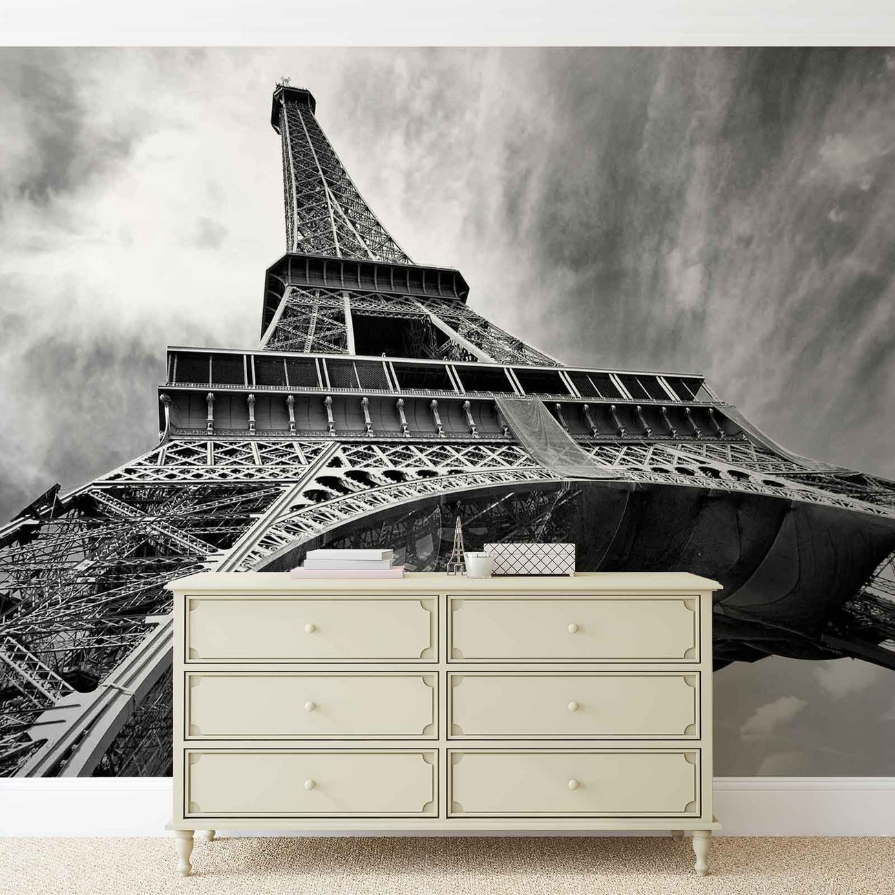 Paris eiffel tower black white wall paper mural buy at for Black wall mural