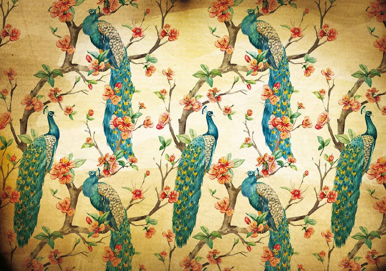 Pattern peacocks flowers vintage wall paper mural buy at for Antique wallpaper mural