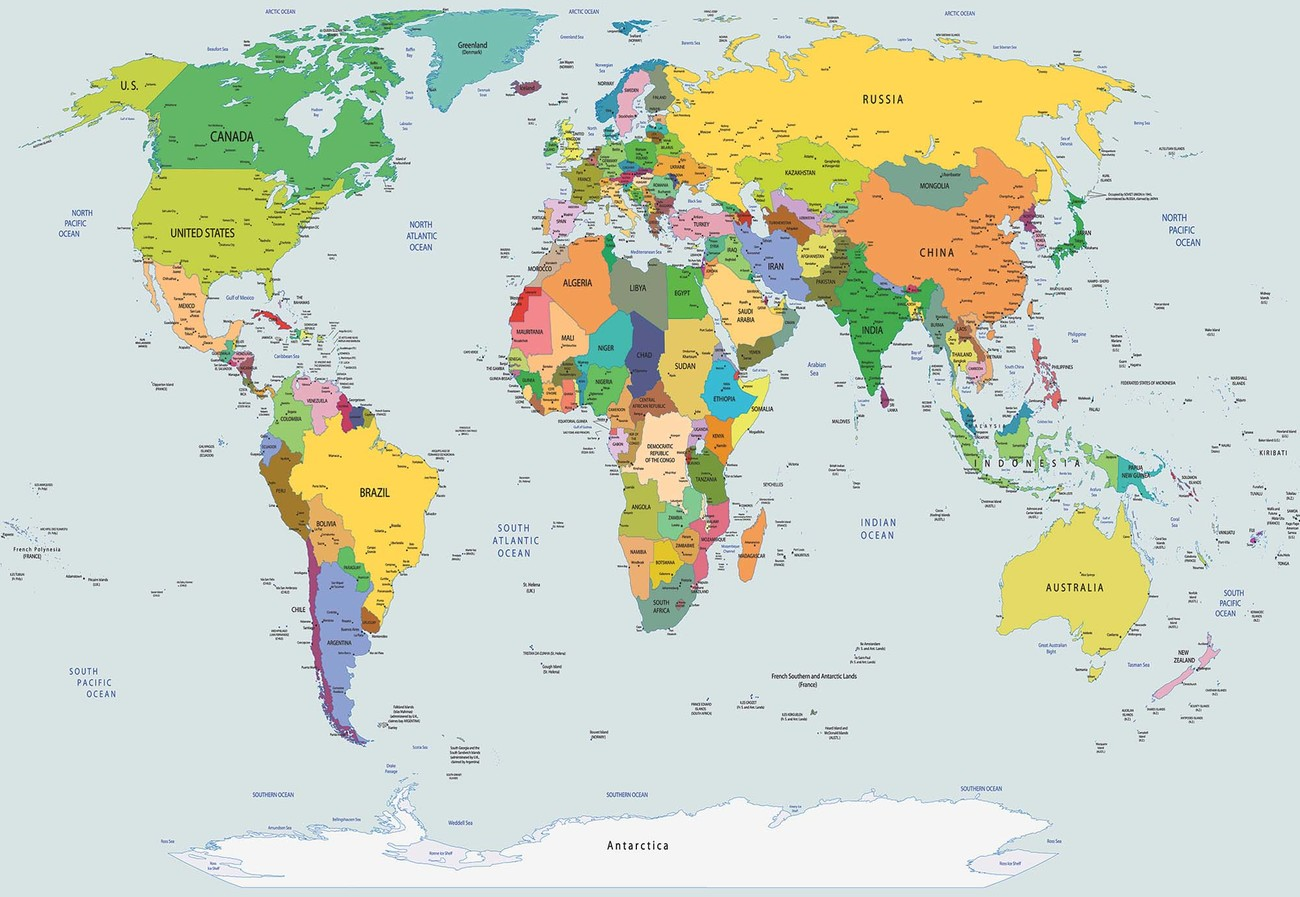 Picture of: Political World Map Atlas Wall Paper Mural Buy At Europosters