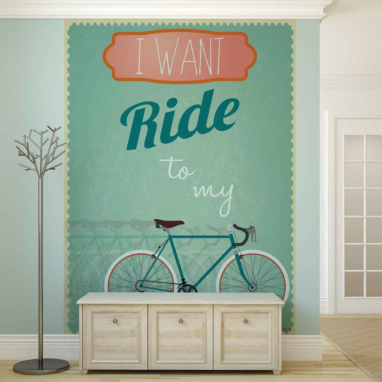 Racing bicycle retro wall paper mural buy at europosters for Classic mural wallpaper