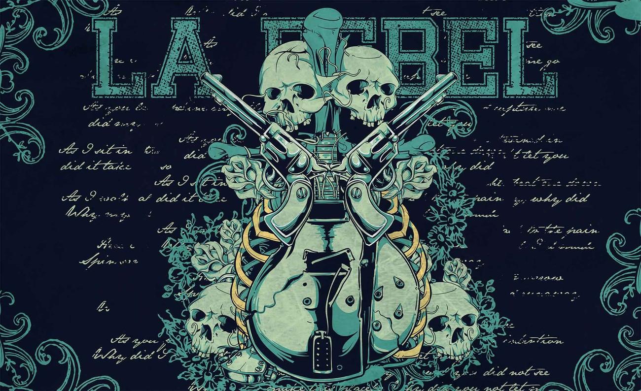 Rock Guitar Skull Guns Wall Paper Mural Buy At Europosters