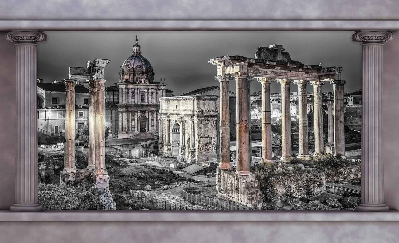 Rome city ruins window view wall paper mural buy at for City view wallpaper mural