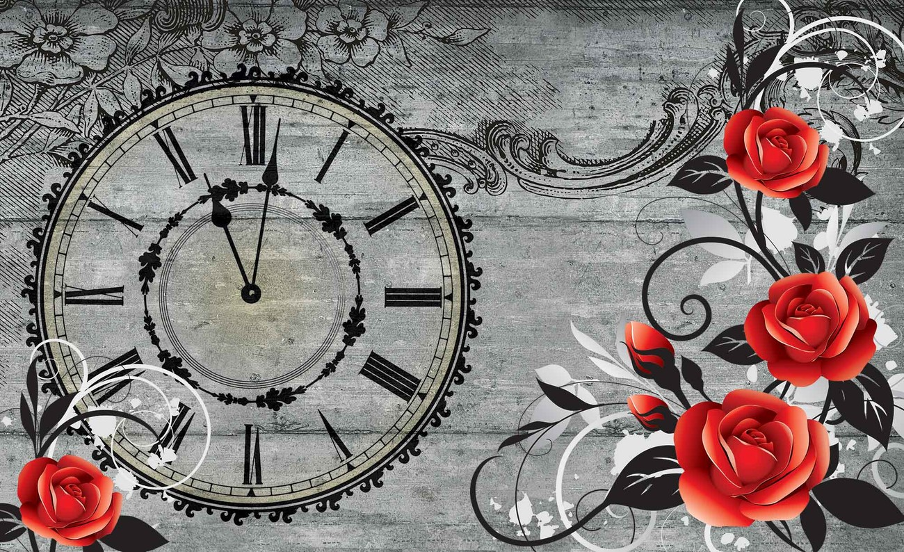 Roses clock wood planks vintage wall paper mural buy at for Clock wall mural
