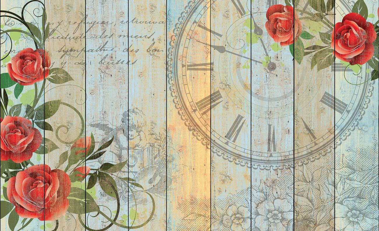 Roses clock wood planks vintage wall paper mural buy at for Antique wallpaper mural