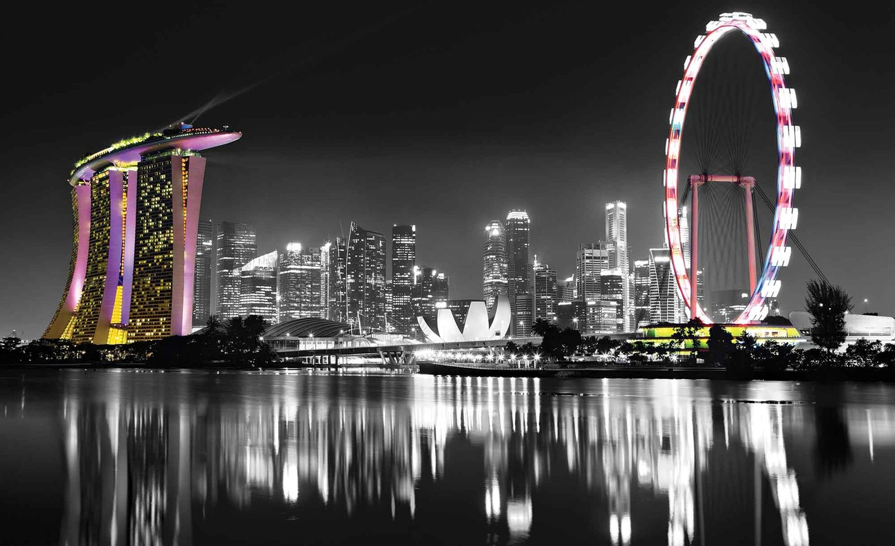 Singapore skyline wall paper mural buy at europosters for Cityscape wall mural