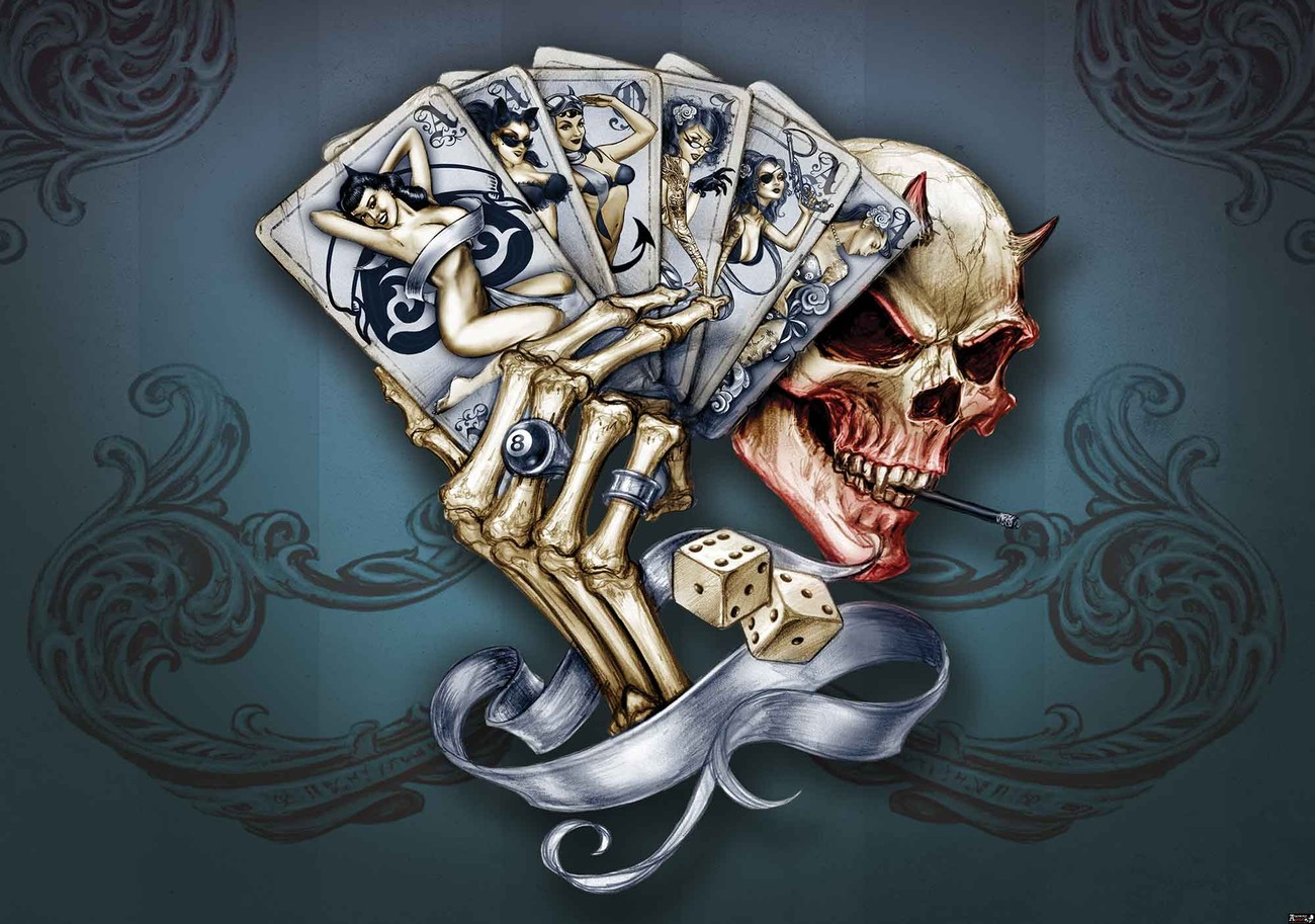skull dice cards wall paper mural buy at europosters. Black Bedroom Furniture Sets. Home Design Ideas