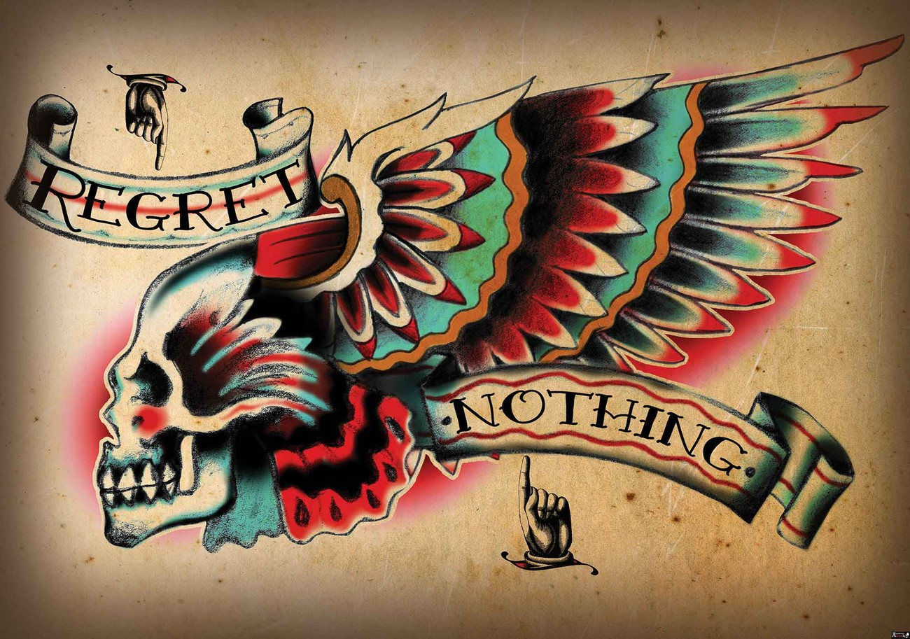 Skull tattoo wing wall paper mural buy at europosters for Back mural tattoos