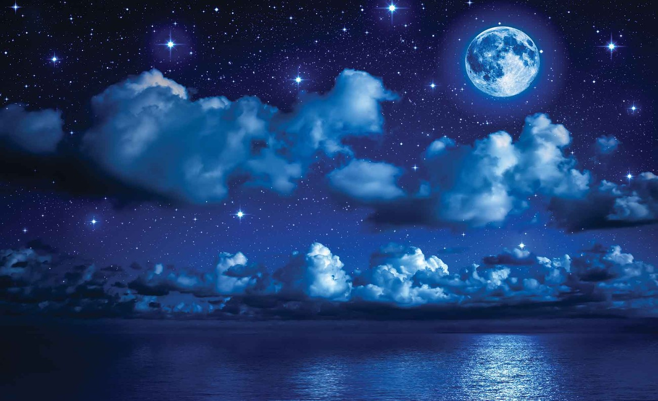 Sky moon clouds stars night sea wall paper mural buy at for Blue moon mural