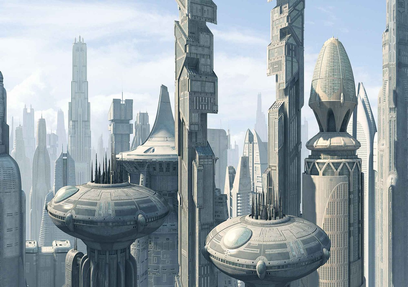 Star wars city coruscant wall paper mural buy at europosters for Mural star wars